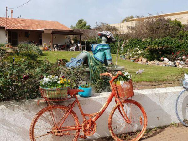 פסלים ועציצים בחצר אומנית בשבי ציון
